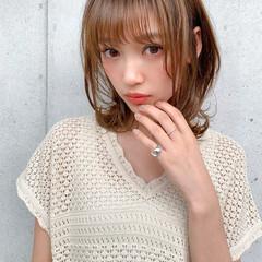 透明感カラー 小顔ヘア ミディアム 鎖骨ミディアム ヘアスタイルや髪型の写真・画像
