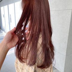透明感カラー ロング ナチュラル ピンクブラウン ヘアスタイルや髪型の写真・画像