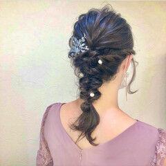 結婚式ヘアアレンジ 編みおろし お呼ばれヘア フェミニン ヘアスタイルや髪型の写真・画像