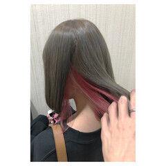 ピンク ボブ 秋 オフィス ヘアスタイルや髪型の写真・画像