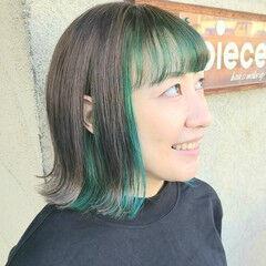 ダブルカラー ストリート カラーバター ボブ ヘアスタイルや髪型の写真・画像