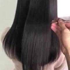 髪質改善トリートメント ロング 暗髪女子 ツヤツヤ ヘアスタイルや髪型の写真・画像