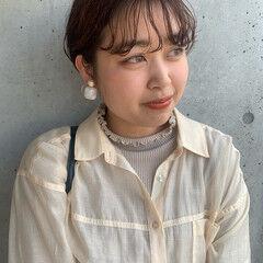 ナチュラル くせ毛 うざバング ショート ヘアスタイルや髪型の写真・画像