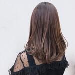 セミロング 艶髪 レッド ピンク