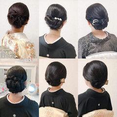 ヘアアレンジ ミディアム エレガント 黒留袖 ヘアスタイルや髪型の写真・画像