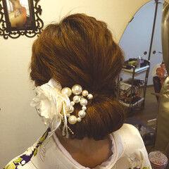 セミロング 大人かわいい ヘアアレンジ 和服 ヘアスタイルや髪型の写真・画像