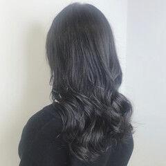 ネイビーブルー 大人ロング 暗髪 ロング ヘアスタイルや髪型の写真・画像