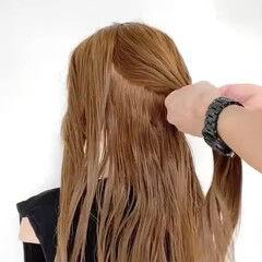 エレガント 編みおろし 三つ編み ロング ヘアスタイルや髪型の写真・画像