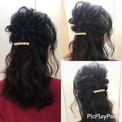 パールアクセ ヘアピン ロング ハーフアップ ヘアスタイルや髪型の写真・画像