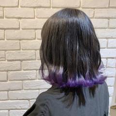 パープル ミディアム 裾カラー ガーリー ヘアスタイルや髪型の写真・画像