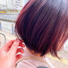 ピンク ベリーピンク デート モテボブ ヘアスタイルや髪型の写真・画像