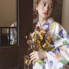 ナチュラル セミロング ヘアアレンジ 花火大会 ヘアスタイルや髪型の写真・画像