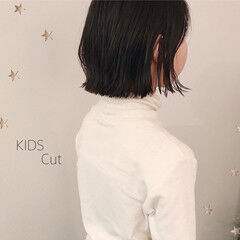 ナチュラル 子供 キッズカット ボブ ヘアスタイルや髪型の写真・画像