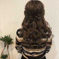 ロング りぼん 編み込みヘア 編み込み ヘアスタイルや髪型の写真・画像