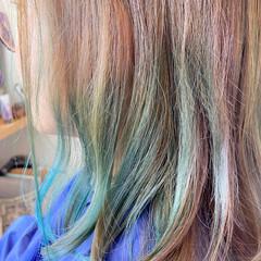 ユニコーン セミロング ダブルカラー ユニコーンカラー ヘアスタイルや髪型の写真・画像