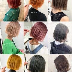 オレンジカラー ミニボブ ボブ オリーブカラー ヘアスタイルや髪型の写真・画像