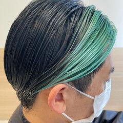 黒髪 ハイトーンカラー ブリーチ メンズヘア ヘアスタイルや髪型の写真・画像
