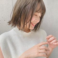 透明感カラー ショートボブ ナチュラル ミニボブ ヘアスタイルや髪型の写真・画像