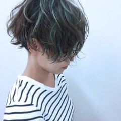 パーマ ボブ パンク グリーン ヘアスタイルや髪型の写真・画像