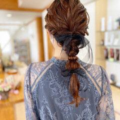 編みおろし 編みおろしヘア 結婚式ヘアアレンジ ロング ヘアスタイルや髪型の写真・画像