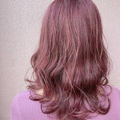 ナチュラル セミロング 外国人風カラー ローズ ヘアスタイルや髪型の写真・画像