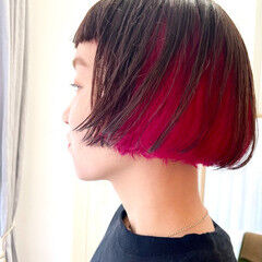 ボブ ピンク ミニボブ モード ヘアスタイルや髪型の写真・画像