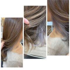 セミロング ブリーチカラー インナーカラーパープル インナーカラー ヘアスタイルや髪型の写真・画像