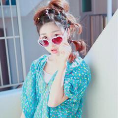 夏 セミロング ヘアアレンジ ヘアアクセ ヘアスタイルや髪型の写真・画像