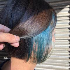 ショートボブ ストリート インナーカラー ミニボブ ヘアスタイルや髪型の写真・画像