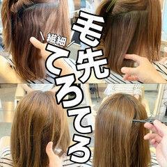 髪質改善 ナチュラル ミディアム 前髪 ヘアスタイルや髪型の写真・画像