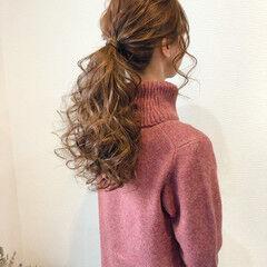 ポニーテール ローポニー ポニーテールアレンジ ヘアセット ヘアスタイルや髪型の写真・画像