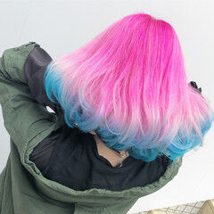 ストリート ボブ ピンク 裾カラー ヘアスタイルや髪型の写真・画像