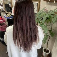 ナチュラル セミロング ピンクカラー グラデーションカラー ヘアスタイルや髪型の写真・画像