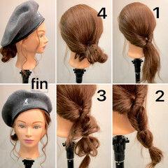 スポーツ ミディアム 簡単ヘアアレンジ ベレー帽 ヘアスタイルや髪型の写真・画像