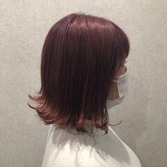 ピンクラベンダー ピンクベージュ ピンクバイオレット ダブルカラー ヘアスタイルや髪型の写真・画像