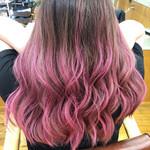 セミロング 外国人風カラー グラデーションカラー ピンク