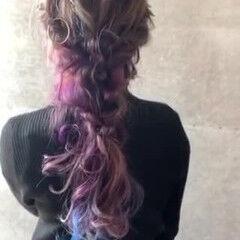 簡単ヘアアレンジ ロング 編みおろしヘア フェミニン ヘアスタイルや髪型の写真・画像