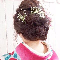 袴 ヘアアレンジ 花 謝恩会 ヘアスタイルや髪型の写真・画像