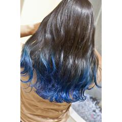 ブルーグラデーション ネイビーブルー アッシュグラデーション グラデーションカラー ヘアスタイルや髪型の写真・画像