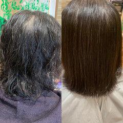 ナチュラル ボブ 縮毛矯正 ヘアスタイルや髪型の写真・画像