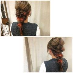 ロング ショート インナーカラー 編み込み ヘアスタイルや髪型の写真・画像
