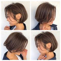 大人女子 ナチュラル ショートボブ モカベージュ ヘアスタイルや髪型の写真・画像