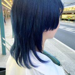 ブリーチカラー ブルー ネイビーブルー マッシュウルフ ヘアスタイルや髪型の写真・画像