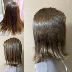 ネオウルフ エレガント オリーブグレージュ ミディアム ヘアスタイルや髪型の写真・画像