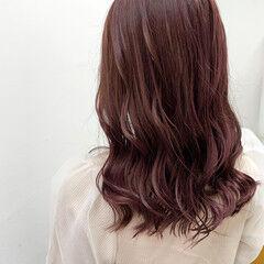ラベンダーピンク エレガント ピンクラベンダー ロング ヘアスタイルや髪型の写真・画像