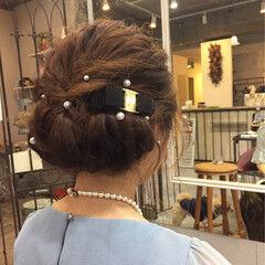 ミディアム 結婚式 エレガント セミロング ヘアスタイルや髪型の写真・画像