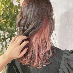 セミロング ピンクベージュ ラズベリーピンク 大人可愛い ヘアスタイルや髪型の写真・画像