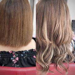 エクステ ハイライト グラデーションカラー エレガント ヘアスタイルや髪型の写真・画像