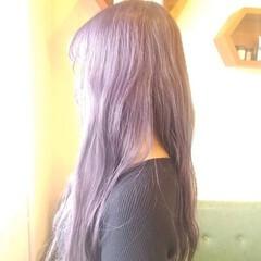 ロング ガーリー パープル パープルカラー ヘアスタイルや髪型の写真・画像