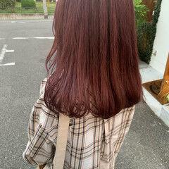 セミロング ガーリー 暖色 ベリーピンク ヘアスタイルや髪型の写真・画像